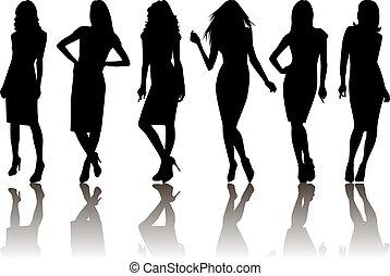 Female silhouette set