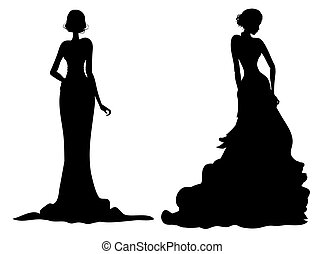 female silhouette - drawing of black female silhouette in a...