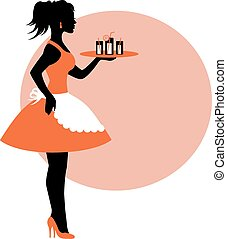 female silhouette wearing an apron