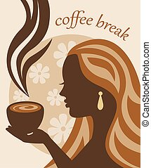 female silhouette with a cup of cof