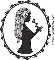 silhouette with long hair