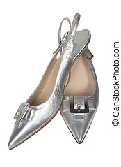 Female silver shoes on a white background