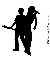 Female singer and male guitar player back to back