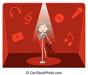 Female singer in red background