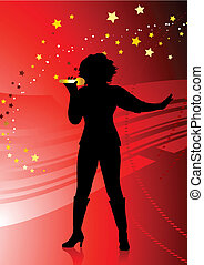 female singer on abstract red background with stars