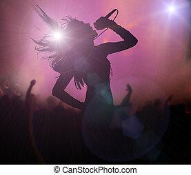Female singer silhouette