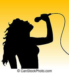 Female singer - Silhouette of a female singer