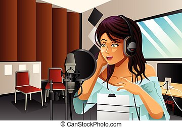 Female Singer Singing - A vector illustration of a female...