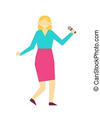 Female Singing with Mike, Vector Illustration