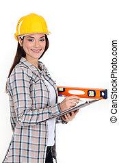 Female site surveyor