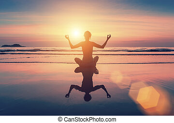 Female sitting in yoga pose