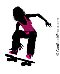 Female Skateboarder Silhouette