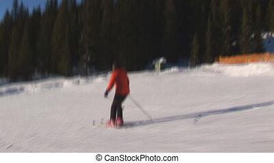 Female skier high speed - Female skier very close to camera...