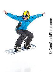 Female skillful snowboarder jumping raising hands up. Full...