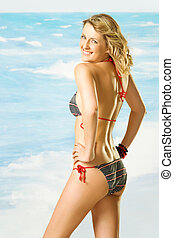 Female smiling swimsuit