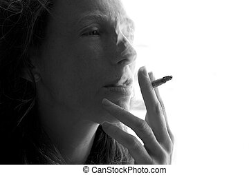 female smoker woman with smoke cigarette