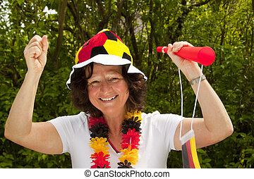 Female soccer Fan - Female soccer fan with hat- outdoor shot