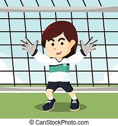 female soccer goal keeper