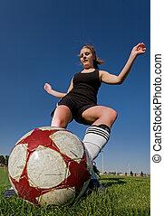 Female soccer kick