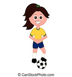 Female soccer player with a soccer ball