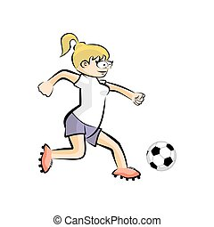 Female Soccer Player with Ball - Vector Cartoon isolated
