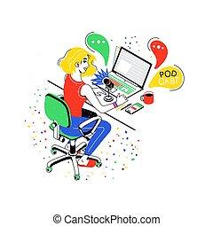 Female social media network bloggers collaboration. Vloggers...