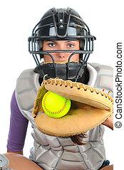 Female Softball Catcher - Closeup of a female softball ...