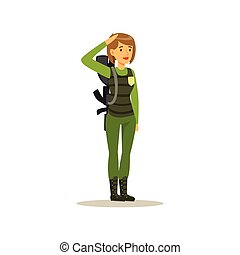 Female soldier character in camouflage combat uniform doing a hand salute vector Illustration