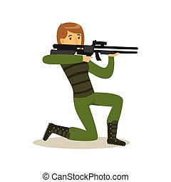 Female soldier character in camouflage combat uniform standing on one knee aiming with automatic assault rifle vector Illustration