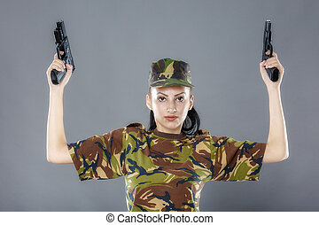 Female soldier in camouflage