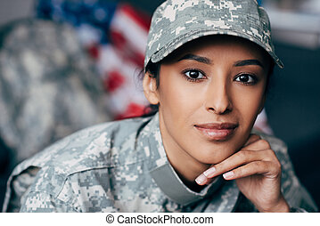 female soldier in military uniform - african american female...