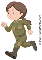 Female soldier in uniform running