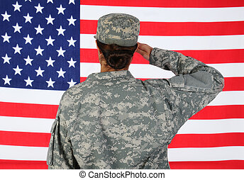 Female Soldier Saluting Flag