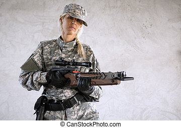 female soldier with crossbow