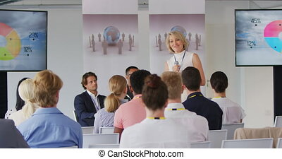 Front view of a middle aged Caucasian blonde businesswoman standing on a stage using a microphone to address the audience at a business conference, on the stage behind her screens are displaying information, the backs of the seated audience are seen in the foreground