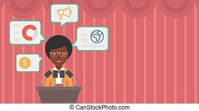 Female speaker on the podium vector illustration.