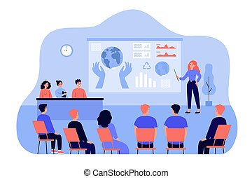 Female speaker standing in front of presentation isolated ...