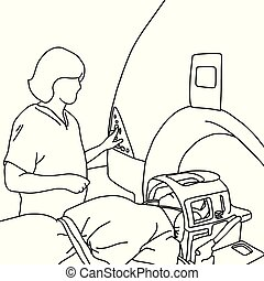 female specialist turning on MRI scanner for patient in hospital vector illustration sketch hand drawn with black lines, isolated on white background. Medical concept.