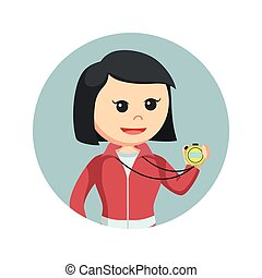 female sport teacher holding stopwatch in circle background