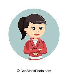 female sport teacher in circle background