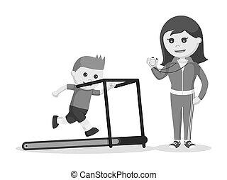 Female sport teacher running training kid