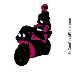 Female Sports Biker Illustration Silhouette - Female sports...