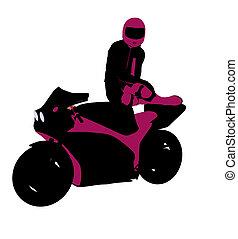 Female Sports Biker Illustration Silhouette