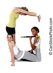 female sporty trio