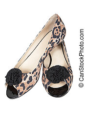 Female spotty shoes on a white background