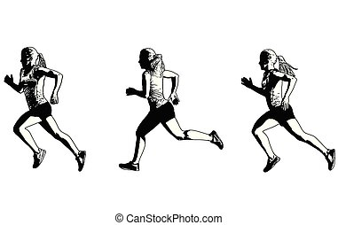 female sprinter sketch illustration