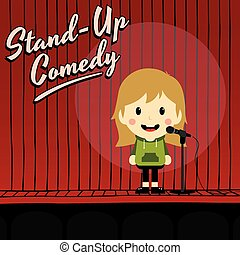 female stand up comedian cartoon character vector illustration