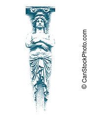 Female statue on the Grunge style. illustration.