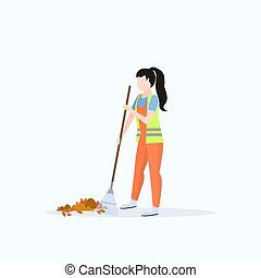 female street cleaner holding rake woman sweeping lawn cleaning leaves city streets service concept full length flat white background