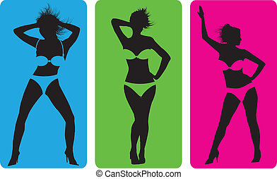 Female strip bikini silhouettes